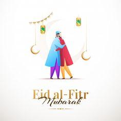 Happy eid al-fitr mubarak, clean design with characters Premium Vector Eid Mubarak Messages, Eid Mubarak Images, Eid Mubarak Card, Happy Eid Mubarak, Eid Background, Eid Mubarak Background, Eid Al Fitr Greeting, Eid Mubarak Wallpaper, Eid Mubark