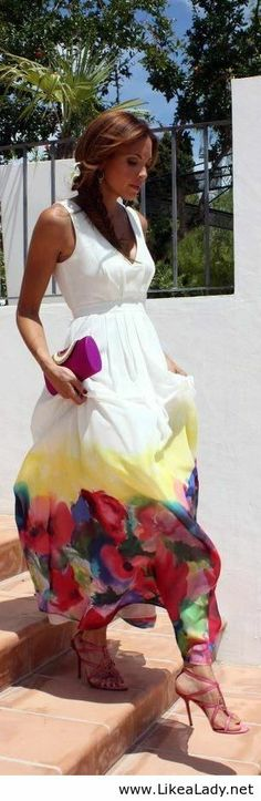 The elegance of white splash with colors...I love it: Watercolor floral maxi dress
