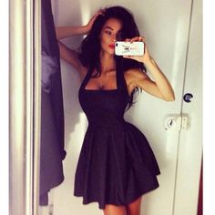 Womens Halter Neckline Sleeveless Little Black Fit Skater Flare Dress Short Party Dresses Vestidos