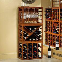 Cube-Stack Wine Bottle & Stemware Rack Set (Walnut Stain) at Wine Enthusiast - $174.95