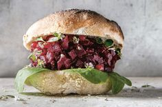 Salt-roasted beetroot burger with pickled redcurrants