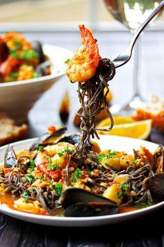 Seafood Stew in a Garlicy White Wine & Saffron Broth