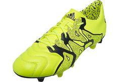 adidas X 15.1 Leather FG AG Soccer Cleats - Solar Yellow Adidas Football 5504dea6807d