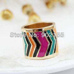 Anéis Novo 2014 design de moda venda quente colorido esmalte liga cor de ouro para as mulheres em Anéis de Jóias no AliExpress.com