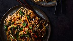 thai noodles with brussels sprouts