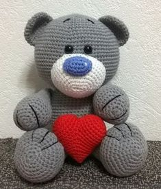 Free Crochet Patterns Bear with heart - Free Amigurumi animals patterns in our new app Crochet Animal Amigurumi, Knitted Animals, Crochet Bear, Amigurumi Patterns, Crochet For Kids, Diy Crochet, Crochet Crafts, Crochet Dolls, Crochet Projects