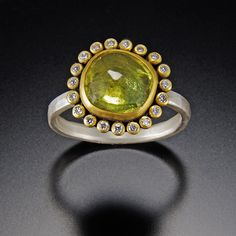 Green Sapphire Ring with Diamond Halo   Ananda Khalsa Jewelry