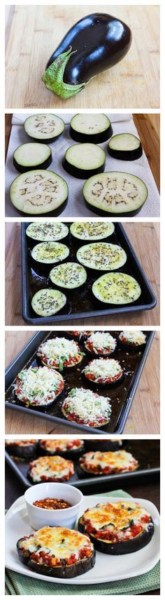 "Eggplant pizzas. Preheat oven to 425, Cut eggplant to 1/4"" thick, spread oil, salt and pepper. Bake eggplant 5 minutes on each side. Cover with tomato sauce, bake until cheese is browned. grass feed cheese on top"