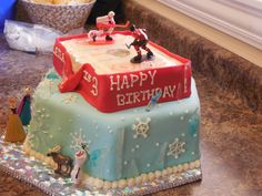 """The Frozen Hawkes Cake!  My niece LOVES the Chicago Blackhawks AND Frozen!  Challenge Accepted! Fondant with BC transfer under the candy glass """"ice"""""""
