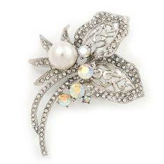 Bridal AB & Clear Crystal Floral Brooch In Silver Plating - 8cm Length Avalaya, http://www.amazon.co.uk/dp/B008CRYUHM/ref=cm_sw_r_pi_dp_msgYsb1FMCJMY