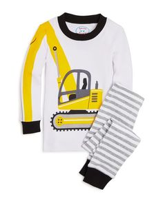 Sara's Prints Boys' Excavator Pajama Set - Sizes 2-7 | Cotton | Machine wash | Imported | Fits true to size | Snug fitting | Top: contrast crewneck, long sleeves with contrast cuffs, front and right s