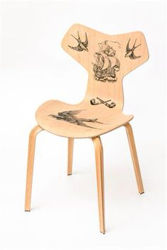 The Old Man and The Sea - Fritz Hansen Grand Prix chair, tattoo by Pietro Sedda for Fantastic Wood project by Diego Grandi. On auction for Dynamo Camp http://www.charitystars.com/auctions?tid=565