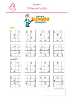 Sudoku-enfant-a-imprimer. Printable Crossword Puzzles, Sudoku Puzzles, Logic Puzzles, English Worksheets For Kids, Math Worksheets, Math For Kids, Puzzles For Kids, Kindergarten Math, Teaching Math