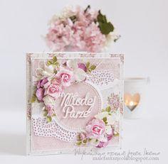 Witam, znów wędruję do Was z inspiracją ślubną w moim ulubionym różu.Postanowiłam wykorzystać ażurową serwetkę troszkę w inny sposó...