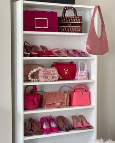 Pink wardrobe favs by Alex. 💕Anzeige/Tags Which item would you steal?Additional question for bored fashion lovers: Which brand can you see most? Pink Wardrobe, Wardrobe Room, Girls Wardrobe, Luxury Purses, Luxury Bags, Aesthetic Bags, Leonie Hanne, Room Design Bedroom, Minimalist Room