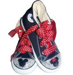 Mickey and Minnie Bling Converse-mickey and minnie bling converse swarovski tennis shoes minnie bling swarovski converse chuck taylor