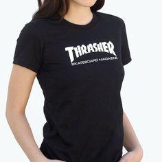 Thrasher Mag Logo Black Girl's t-shirt - new at Warehouse Skateboards! #WHSkate #skateboarding