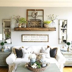 comfy farmhouse living room designs to steal. Shelf over couch. Rustic Decor - Modern Farmhouse Interior
