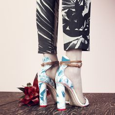 J.Crew Collection women's Ludlow pant in inky floral and Sophia Webster™ for J.Crew Nicole block heels.