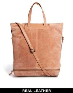 Image 1 ofASOS Leather Shoulder Bag With Zip Base