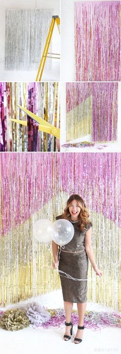 cool NYE backdrop. made using thee fringe curtains, silver, pink and gold - brilliant!