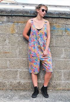 20820114 Vintage 90s Crazy Print Cotton Dungarees Dungarees, Southern Prep, Printed  Cotton, Bib And