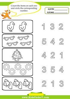 preschool worksheets   Kids Under 7: Preschool Counting Printables