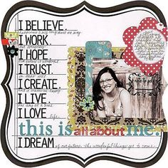 #papercraft #scrapbook #layout. All about me