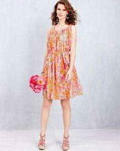 Pleated-Neckline Silk Dress