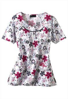 Fun for summer! Scrubs Uniform, Cherokee Scrubs, Scrub Tops, Daisies, Costume, Nursing Uniforms, White Coats, Floral Tops, Nurse Life