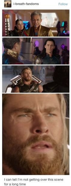 In this scene, Grandmaster flirts with Loki, causing him to turn to his brother and then at the Grandmaster. Thor's face of confusion and disgust made this so much more funny Marvel Funny, Marvel Memes, Marvel Dc Comics, Marvel Avengers, Loki Laufeyson, Loki Thor, Stucky, Asgard, Fandoms