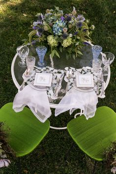 Blue & Green , Succulents Galore & a Tea Party for Two|Photographer: Michael Bennett Kress Photograpy