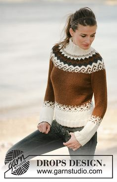 Ravelry: Milk & Chocolate pattern by DROPS design Fair Isle Knitting Patterns, Knit Patterns, Punto Fair Isle, Pull Jacquard, Icelandic Sweaters, Drops Design, Mittens Pattern, Couture, Knit Fashion