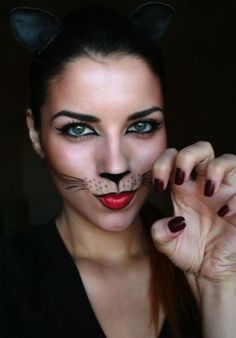 Create your Halloween getup this year using these 22 makeup looks to inspire a DIY costume. See the full tutorial and 21 more ~inspiring~ Halloween makeup looks here! Spooky Halloween, Cat Halloween Makeup, Cheap Halloween Costumes, Halloween 2014, Cat Costumes, Holidays Halloween, Costume Ideas, Halloween Inspo, Adult Cat Costume