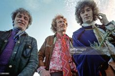 Jack Bruce, Ginger Baker and Eric Clapton of Cream pictured in Scotland during a shoot for the cover of their forthcoming album Disraeli Gears. July 1968.