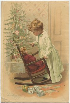 Playing with a doll. Images Vintage, Vintage Christmas Images, Old Fashioned Christmas, Christmas Scenes, Christmas Past, Victorian Christmas, Vintage Holiday, Retro Christmas, Christmas Pictures