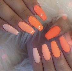 Neon Orange Nail Art Design Art Neon 43 Crazy-Gorgeous Nail Ideas for Coff. - Neon Orange Nail Art Design Art Neon 43 Crazy-Gorgeous Nail Ideas for Coffin Shaped Nails Orange Nail Art, Neon Orange Nails, Neon Nails, Swag Nails, Neon Nail Art, Crazy Nail Art, Yellow Nail, Green Nail, Gradient Nails