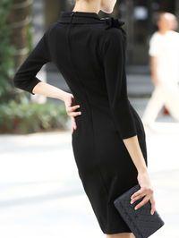 Shirred Cotton Bow Neck Mini Dress