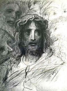Sketch of the face of Jesus from Crown of Thorns - Gustave Dore