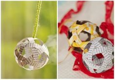 How to make a recycled paper strip ball ornament