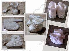 Botinha branca para bebê em crochet