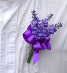 A guest handmade Wedding buttonhole made using silk flowers. Featuring in this buttonhole are dark lilac lavender with a purple satin bow. Purple Wedding, Wedding Day, Satin Hands, Lavender Bouquet, Purple Satin, Handmade Wedding, Buttonholes, Ribbon Bows, Artificial Flowers