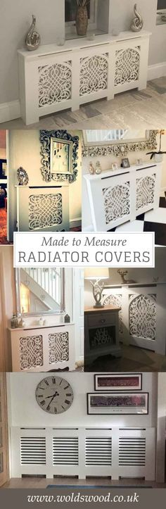Made to measure and standard size radiator covers.  Handmade in the UK.  Custom made - choose your cabinet style and grille.  Bespoke - made to your measurements.  Can come unpainted, primed or topcoated in a satin white.  Prices start at £94 for a small