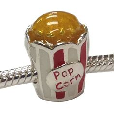 #charm #popcorn #datenight Date Night Movie Popcorn Sterling Silver Charm that Fits All Major Bracelets - Only $48 !!