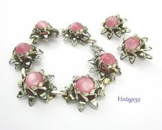 Bracelet Earring Set Pink Lucite Moonglow by Vintage55 on Etsy