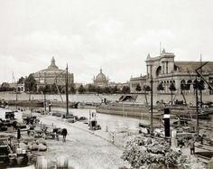 Stengel & Co./Dresden-Berlin, Panorama des Ausstellungsgebäudes und Lehrter Bahnhofs, um 1900.