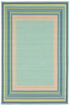 Playa Aqua and Beach Blues Border Rug