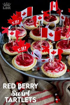 An easy to assemble treat perfect for any Canada Day celebration. Red Berry Swirl Tartlets are flaky, buttery, creamy, and sweet! #canadaday #recipes #redandwhite #tarts #berry #red Canadian Dishes, Canadian Food, Canadian Party, Mini Tart Shells, Canada Day Party, Most Pinned Recipes, White Cakes, Fourth Of July Food, Food Shows