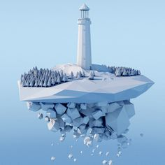 Lighthouse [Low Poly] by Ollie Hooper, via Behance #Polygon #lowpoly