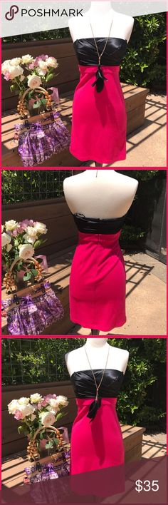 Bcbg max Simply rocking the summer with flats wedges or heels. This electric hot pink and jet black LBD will have you doing the happy dance!. Nylon and spandex, super comfy!. Perfect condition BCBGMaxAzria Dresses Mini